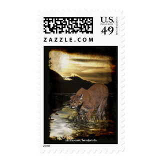 Cougar Mountain-Lion Art Postage Stamps