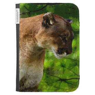 Cougar Mountain Lion Big Cat Art Kindle Folio Case