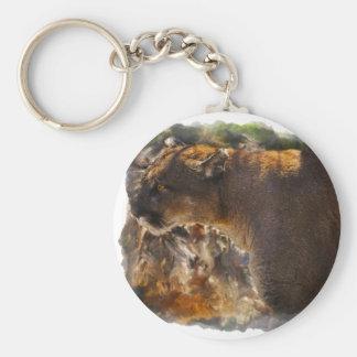 Cougar Mountain Lion Big Cat Art Design 4 Basic Round Button Keychain