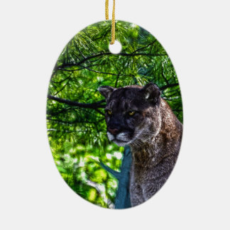Cougar Mountain Lion Big Cat Art Design 6 Ceramic Ornament