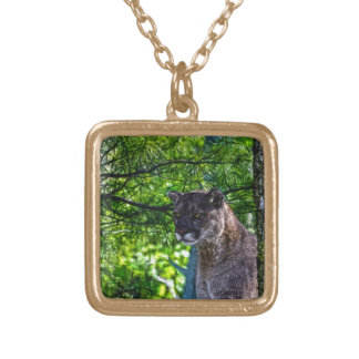 Cougar Mountain Lion Big Cat Art Design 6 Gold Plated Necklace