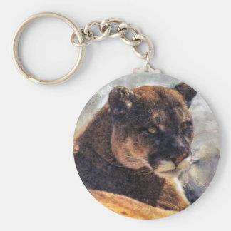 Cougar Mountain Lion Big Cat Art Design Basic Round Button Keychain