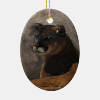 Cougar Mountain Lion Big Cat Art Design Ceramic Ornament