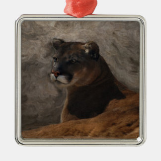 Cougar Mountain Lion Big Cat Art Design Metal Ornament