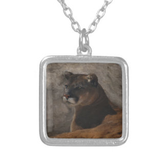 Cougar Mountain Lion Big Cat Art Design Silver Plated Necklace