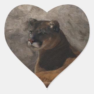 Cougar Mountain Lion Big Cat Art Design Heart Sticker