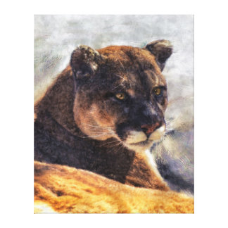 Cougar Mountain Lion Big Cat Painting 2 Canvas Print