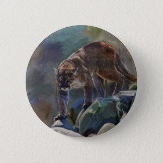 Cougar Mountain Lion Big Cat Painting 5 Button