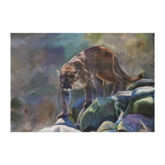 Cougar Mountain Lion Big Cat Painting 5 Gallery Wrap Canvas