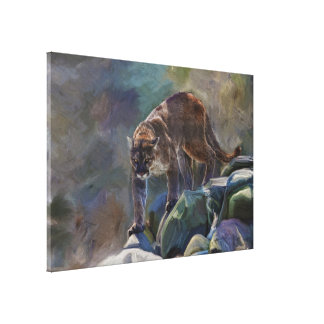 Cougar Mountain Lion Big Cat Painting 5 Stretched Canvas Prints