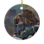 Cougar Mountain Lion Big Cat Painting 5 Ceramic Ornament
