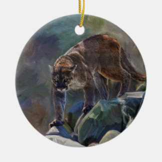 Cougar Mountain Lion Big Cat Painting 5 Double-Sided Ceramic Round Christmas Ornament