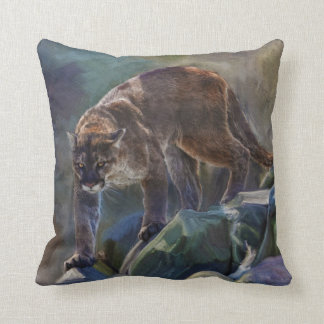 Cougar Mountain Lion Big Cat Painting 5 Throw Pillows