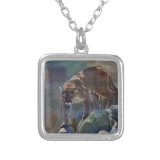 Cougar Mountain Lion Big Cat Painting 5 Silver Plated Necklace