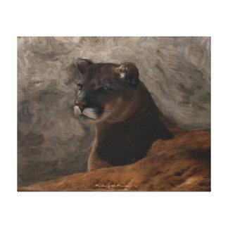 Cougar Mountain Lion Big Cat Painting Canvas Print