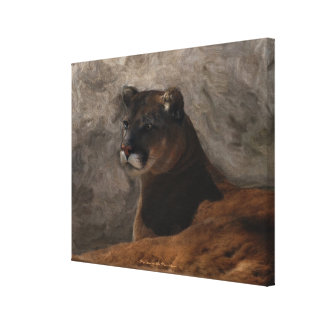 Cougar Mountain Lion Big Cat Painting Stretched Canvas Prints