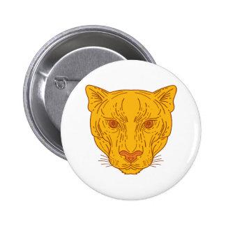 Cougar Mountain Lion Head Mono Line Pinback Button