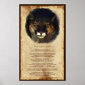 Cougar Mountain Lion Native American Wisdom Poster