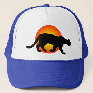 Cougar Mountain Lion Panther Silhouette Red Circle Trucker Hat