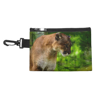 Cougar Mountain Lion & Pine Branches Wildlife Art Accessory Bags