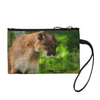 Cougar Mountain Lion & Pine Branches Wildlife Art Coin Wallet