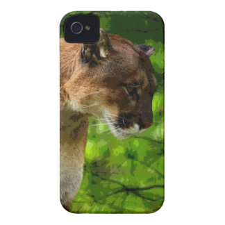 Cougar Mountain Lion & Pine Branches Wildlife Art iPhone 4 Cover