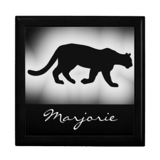 Cougar Mountain Lion Silhouette Name Jewelry Boxes
