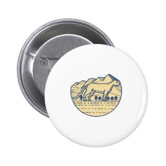 Cougar Mountain Lion Tree Mono Line Pinback Button