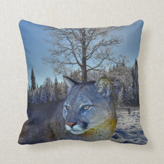 Cougar Mountain Lion & Winter Tree Wildlife Image Pillow