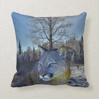 Cougar Mountain Lion & Winter Tree Wildlife Image Throw Pillow