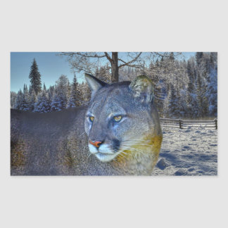 Cougar Mountain Lion & Winter Tree Wildlife Image Rectangular Sticker
