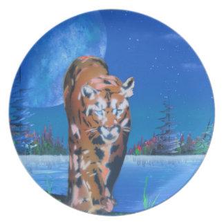 Cougar on island melamine plate