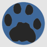 COUGAR PAW PRINT on blue Classic Round Sticker