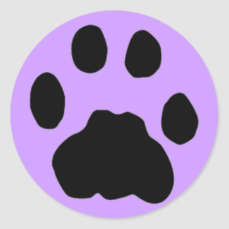 COUGAR PAW PRINT (purple) Classic Round Sticker