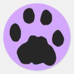 COUGAR PAW PRINT (purple) Round Stickers
