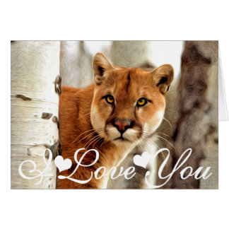 Cougar Photo Painting Image I Love You Card