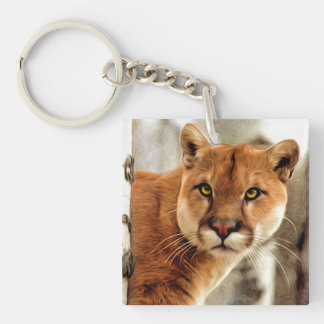 Cougar Photo Painting Keychain