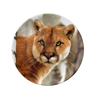 Cougar Photo Painting Porcelain Plate