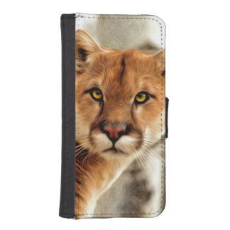 Cougar Photo Painting Wallet Phone Case For iPhone SE/5/5s