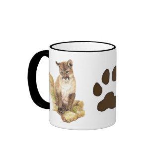 Cougar, Puma, Mountain Lion Animal Cub Tracks Ringer Mug