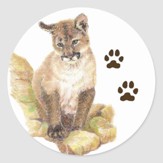 Cougar, Puma, Mountain Lion Animal Cub Tracks Classic Round Sticker
