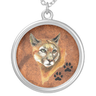 Cougar, Puma, Mountain Lion - Animal  - Nature Round Pendant Necklace