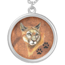 Cougar, Puma, Mountain Lion - Animal  - Nature Silver Plated Necklace