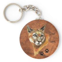 Cougar, Puma, Mountain Lion Animal Tracks Keychain