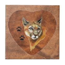 Cougar, Puma, Mountain Lion Animal Tracks, Nature Tile