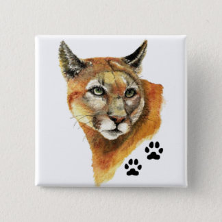 Cougar, Puma, Mountain Lion Animal Tracks Pinback Button
