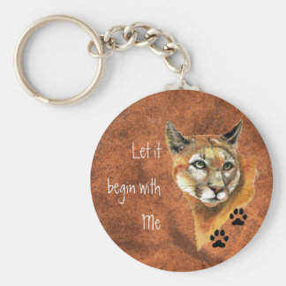 """Cougar Puma Mountain Lion """"Let it begin  with Me"""" Basic Round Button Keychain"""