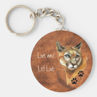 """Cougar Puma Mountain Lion """"Live and Let Live"""" Keychain"""