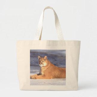 Cougar Resting Large Tote Bag
