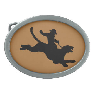 Cougar Rodeo Oval Belt Buckle
